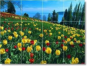 Blume Foto Küche fliesenwandbild F123. 32,4x 43,2cm mit (12) 4,25x 4,25Keramik Fliesen.