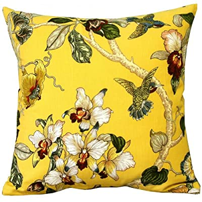 "Yellow Birds Flowers and Tree Cotton Sofa Decor Throw Pillow Covers Pillowcase Sham Decor Cushion Cover Slipcovers Square 18x18 Inch 18"" Only Cover No Insert"