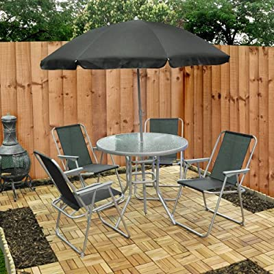 6 Piece Garden Furniture, Patio Set inc. Chairs, Table & Umbrella - inexpensive UK chair shop.