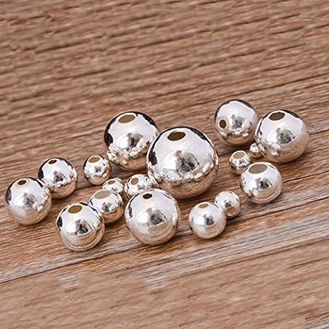 Qingsun 100pcs Perles Rondes en Métal Argenté 3.2mm Idéal pour