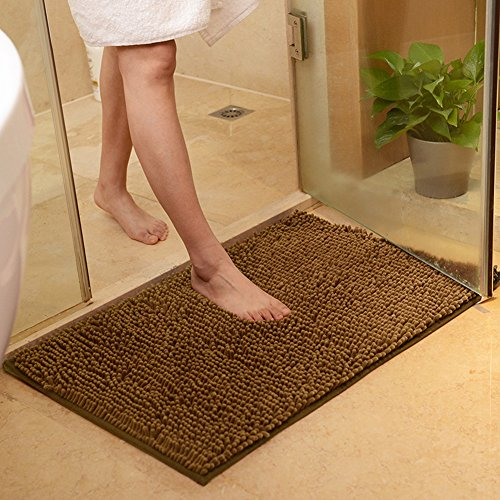 DOTBUY Bad-Teppiche, Chenille Anti-Rutsch-Bequeme Super saugfähiger weicher Duschteppich Dusche Teppich Badematte Bad Teppich (40 * 60cm, Braun) - Natur-badezimmer-teppich