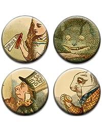 Four Alice In Wonderland Badges