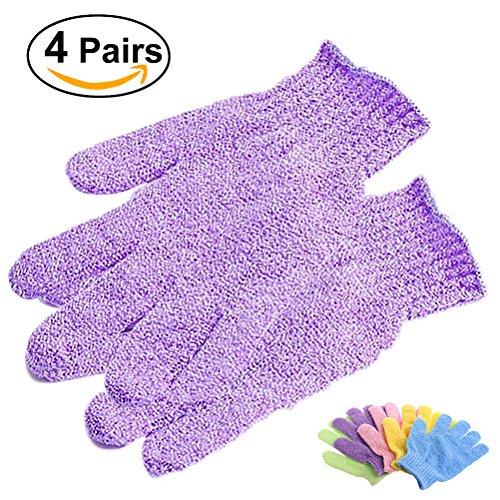 Frcolor 4 pares de ducha Exfoliante baño guantes Nylon ducha guantes Scrub exfoliante corporal