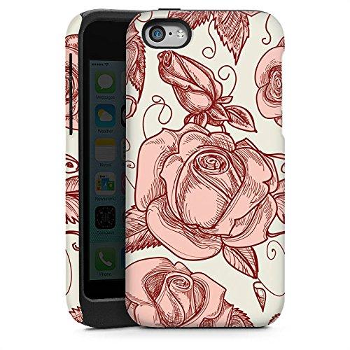 Apple iPhone 5s Housse Étui Protection Coque Roses Roses Roses Cas Tough brillant