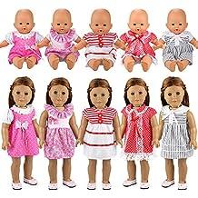 Miunana 5 Abiti Vestiti Tuta Alla Moda Per 36 CM - 46 CM (14 Pollici - 18 Pollici) Baby Dolls Bambola, American Girl Dolls, Bebé Bambolotti E Altre Bambole (14 Pollici - 18 Pollici)
