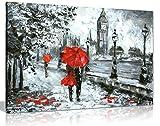 Ölgemälde Street View of London Kunstwerk schwarz weiß und rot Big Ben Leinwand Kunstdruck Bild, schwarz / rot / weiß, A2 61x41 cm (24x16in)