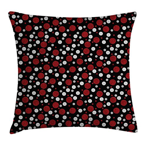 Moss Green Dot (Yinorz Red and Black Throw Pillow Cushion Cover, Retro 60s 70s Cartoon Snow Like Polka Dots Circles Rounds, Decorative Square Accent Pillow Case, 18 X18 Inches, White Light Grey and Burgundy)