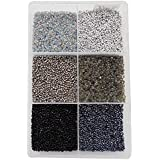Eshoppee 2mm (11/0) 300 Gm Glass Beads, Seed Beads For Jewelery Making Art And Craft DIY Project Kit (11/0 Black)