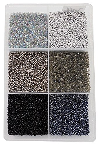 eshoppee 2mm (11/0) 300 gm Glass Seed Beads for Jewellery Making kit Art and Crafts Materials for Embroidery Necklace Bracelet Earring Making Materials DIY kit (11/0 Black)