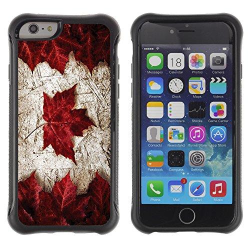 Graphic4You Holz Kanada kanadische Flagge Stoßfeste Anti-Rutsch Weichen Hülle Case Tasche Schale Schutzhülle für Apple iPhone 6 Plus / 6S Plus Design #10