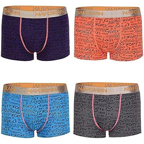 HXSS algodón del escrito del boxeador de los hombres, ropa interior de los troncos de 4 paquetes regalo de la novedad (naranja + violeta + azul + gris)
