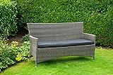 Gemütliche & hochwertige Gartenbank aus Poly Rattan / 165cm breit/wetterfest / inkl. Kissen/rostfreier Alu Rahmen/Farbe: grau braun / 3 sitzer/Rattan / Bank