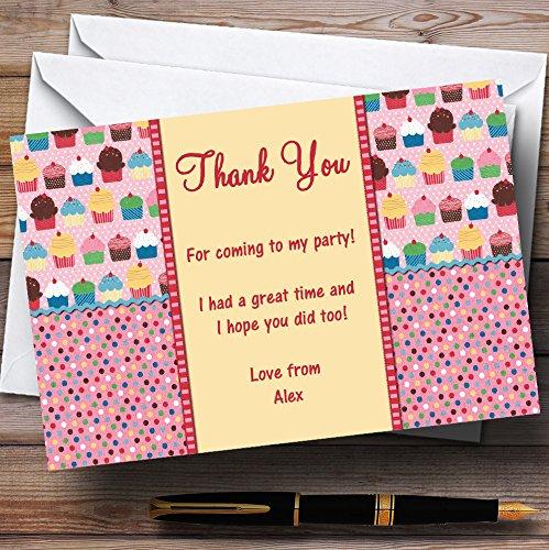 Cupcake Pois Rosa Vintage Personalizzato partito biglietti di ringraziamento, 20 Invites & Envelopes