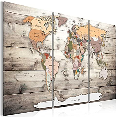murando® Image 120x80 cm (47,2 by 31,5 in) - 3 colours to choose - Image printed on canvas - wall art print - Picture - Photo - 3 pieces - world map wood k-C-0035-b-g