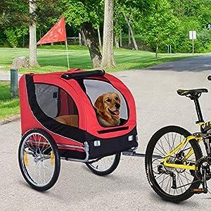 61kG4g6NcZL. SS300 PawHut Carrellino Rimorchio per Cani Animali Domestici da Bicicletta Rosso e Nero 130 x 90 x 110cm