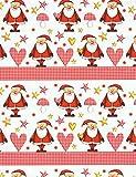 20m Weihnachtsgeschenkpapier Weihnachtsmänner Santas rot-weiss 70cm breit für Kinder und Erwachsene