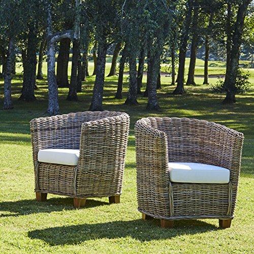 Bois Dessus Bois Dessous Lot de 2 fauteuils Ronds en kubu Naturel