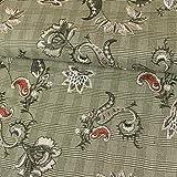 Stoffe Werning Glencheck-Karo Blumen Stickerei Modestoffe