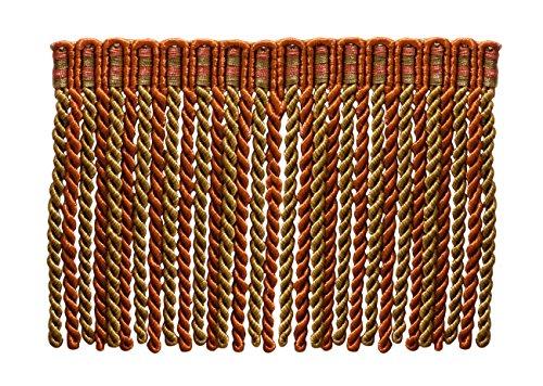 15,2 cm de long lingot Frange tailler, style # DB6 - Cuivre, Vert olive - Rouille 07 (vendu au mètre)
