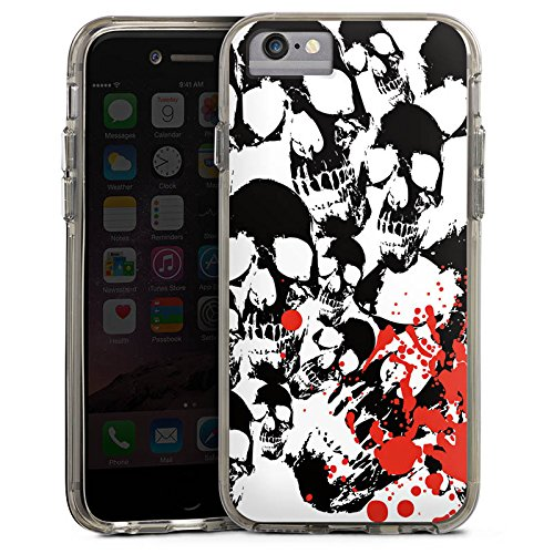 Apple iPhone X Bumper Hülle Bumper Case Glitzer Hülle Skull Blood Skulls Bumper Case transparent grau
