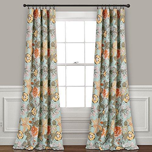 Sydney Room Darkening Window Curtain Panels Blue/Green Set 52x84 - Green Panel Filter