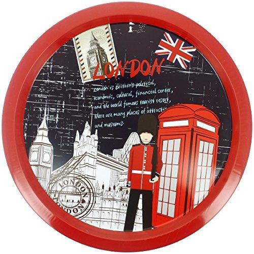 Promobo - Plateau Rond En Métal Déco Vintage Rétro Collection City London Londres