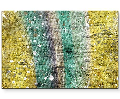Paul Sinus Art Leinwandbilder   Bilder Leinwand 120x80cm Abstraktes Gemälde (Türkis Gelb)