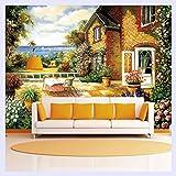 BHXINGMU Im Europäischen Stil Garten Benutzerdefinierte Wandbild Tapete 3D-Effekt Wohnzimmer Sofa Tv Hintergrund Home Decor Fototapete 150 Cm (H) X 200 Cm (W)