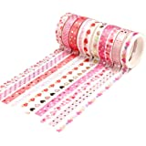 YUBX Maigre Or Washi Tape Set Masking Tape Ruban adhesif decoratif pour Scrapbooking Artisanat de Bricolage 8MM de large (Lov