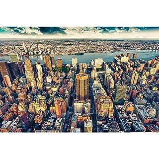 great-art XXL Poster Manhattan New York in der Dämmerung - Wandbild Skyline Städte Sightseeing City Stadt Deko Wanddeko Metropole Motiv Wanddekoration Motiv by (140 x 100 cm)