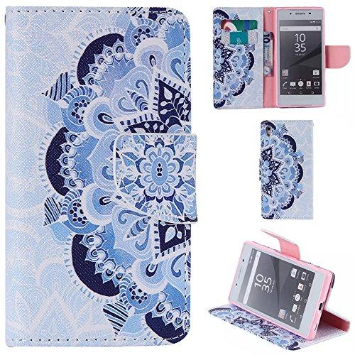 Ooboom® Sony Xperia Z5 Coque PU Cuir Flip Housse Étui Cover Case Wallet Portefeuille Fonction Support avec Porte-cartes pour Sony Xperia Z5 - Don't Touch My iPhone Bleu et Blanc