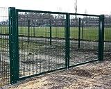 Hochwertiges, 2-flügeliges Tor / Grün beschichtet / Tor-Einbau-Breite: 400 cm - Tor-Einbau-Höhe: 180 cm - Inklusive 2 Pfosten (60mm x 60mm) / Einfahrtstor Mattentor Industrietor