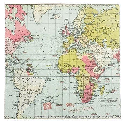 Carte du monde bleu rose vert 3-ply 20 Serviettes en Papier Serviettes 13 \\