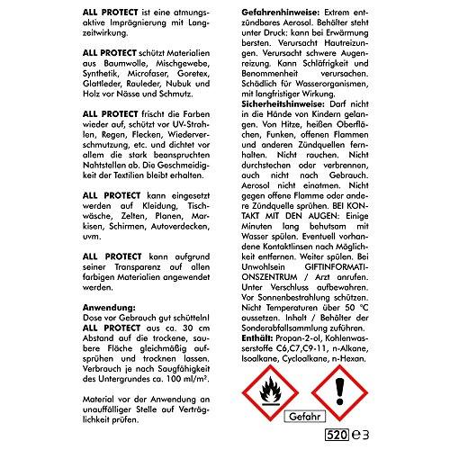 All-Protect-400-ML-SPRAY-3105--Scarpa-impregnazione-Texti-Limp-raegnie-Rung-Pelle-Impregnazione-Spray-impregnazione-Cabrio-tetto-impregnazione-Cabrio-coup-cabriolet-Nano-abperl-effetto--Abacus