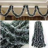 RIANZ Christmas Green Ribbon Garland Strip Tree Hanging Ornament Xmas Home Decor(6 Ft,Green)