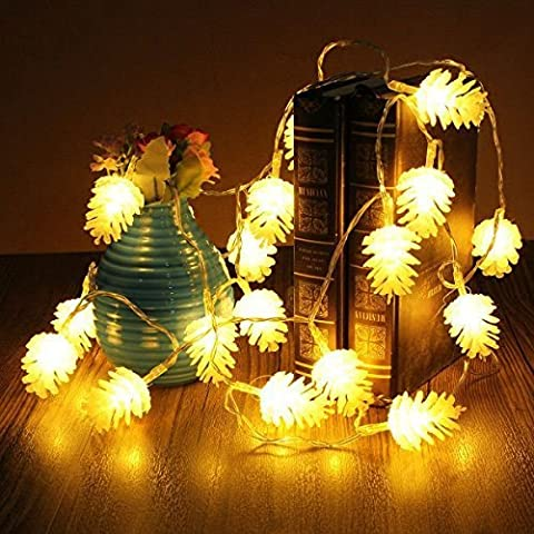 LED Fairy Lights, FLOVEME 2 Meter Battery Powered PC Pinecone Shape Led Fairy Lights Ideal for Wedding ,Christmas, Party ,Homes,Garden,Bedroom Decorations Chain Indoor Lighting - Warm White(20pcs / set)