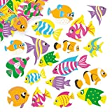 """Moosgummi-Aufkleber """"Tropische Fische"""" - Sticker Set zum Basteln für Kinder und als Dekoration ideal für Urlaub und Karten (100 Stück)"""