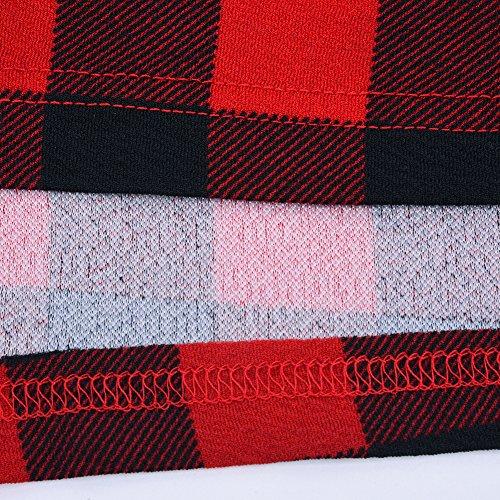 iBaste Elegante Abito Lungo Donna Plaid Rosso Manica Lunga Vestito con la Cintura Vestito Taglia Larga come mostra l'immagine