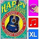 """Bentino - Biglietto di auguri""""chitarra"""", formato A4, con busta""""Happy Birthday"""", per chitarra, effetto fantastico, serie""""GREAT CARDS"""""""