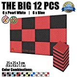 Super Dash 12Pack, 25x 25x 3cm Noppenschaum Egg Box Akustik Home Studio schaldicht Behandlung Zubehör Foam Wall Panel Fliesen sd1052, rot / schwarz, 25 X 25 X 3 cm