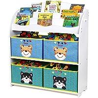 Preisvergleich für HOMFA Kinder Aufbewahrungsregal Bücherregal Kinderregal Spielzeugaufbewahrungregal Spielzeugkiste Kinderkommode mit 4 faltbarer schubladen, Motiv(Bär und Katze)