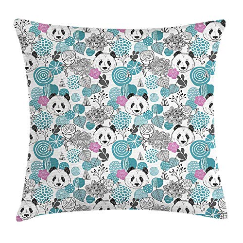 Jolly2T Panda Throw Pillow Cushion Cover, Portraits of Chinese Bears on Sketch Flowers and Abstract Circular Shapes, Decorative Square Accent Pillow Case, 18 X 18 inches, Slate Blue Pink Grey - Panda Baseball Jersey