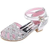 Jimmackey- Scarpe con Paillettes da Ragazza Scarpe con Tacco Alto da Principessa Bowknot Casuale per Bambini Ballerine…