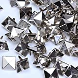 Trimming Shop 12mm Silver Square Studs Pyramid Head Rivets, Nailhead Leathercraft Goth Spikes for DIY, Scrapbooking, Fashion Accessories, 100pcs