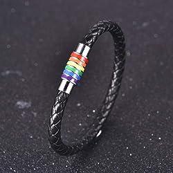 2pcs Pulsera de cuero trenzada del arco iris del acero inoxidable Gay LGBT Brazalete de orgullo gay y lesbiano con cierre magn