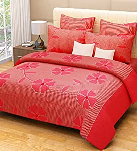 Home Candy 144 TC 100% Cotton Pink Flowers and Checks Double Bed Sheet with 2 Pillow Covers