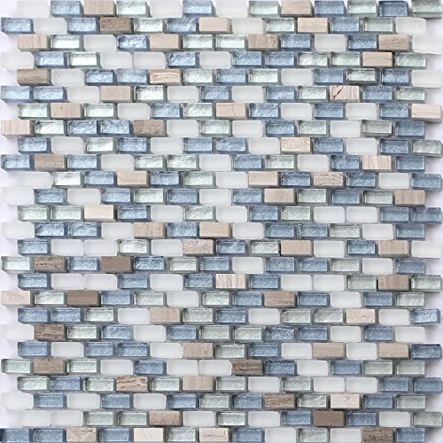 White, Blue and Silver Glass & Natural Stone Brick Shape Mosaic Tiles Sheet (MT0125) (1 Sheet)