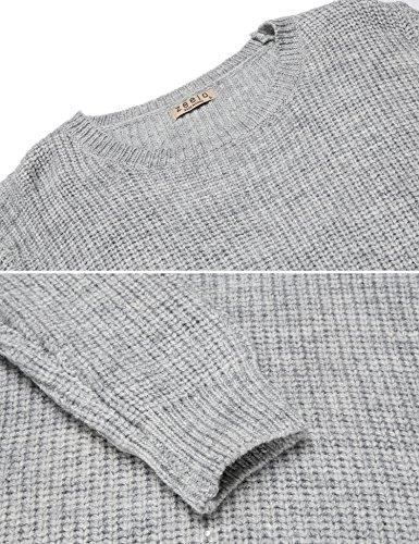 Zeela Damen Strickpullover Wollpullover Sweater Herbst Winter Pullover Strickpulli Grau