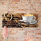 Bilderwelten Wandgarderobe Holz - Kaffee am Morgen - Haken Schwarz - Quer, Garderobenpaneel Holzpaneel Kleiderhaken Flurgarderobe Hakenleiste Holz Hängegarderobe inkl. Haken, Größe HxB: 40cm x 100cm