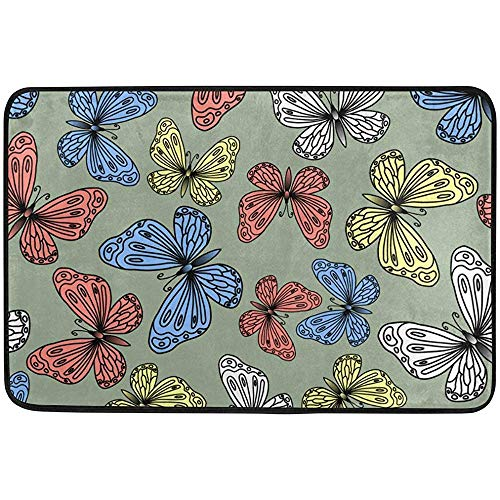 dingjiakemao Non Slip Doormats Rugs Colorful Butterflies Blue Gold White Green Door Mats Soft Memory Foam Printing for Living Room Kids Bedroom 23.6x15.7 inch Blue Butterfly Mop